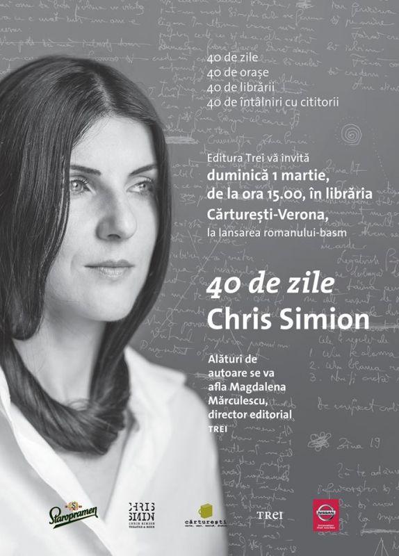 """Chris Simion îşi promovează cartea """"40 de zile"""" printr-un turneu unic în România"""